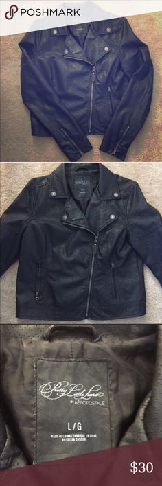 """Pretty Little Liars Aeropostale Leather Jacket From the Pretty Little Liars Collection with Aeropostale! Faux leather jacket. Worn: Dimensions: sleeve length 25"""" bust 15"""" shoulder to shoulder 17"""" waist 20"""" and length 23"""" Aeropostale Jackets & Coats"""