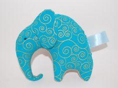 Elephant Plushie Blue Gold and Tan Crinkle by StitchesByMotherHen