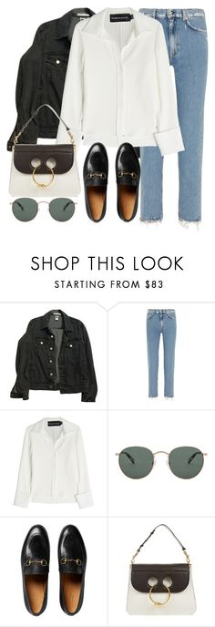 """Untitled #3221"" by elenaday on Polyvore featuring American Apparel, Acne Studios, Brandon Maxwell, raen, Gucci and J.W. Anderson"