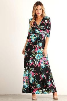 Exotic Floral Maxi Wrap Dress