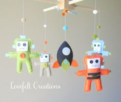 Maybe I can make with felt: Baby Crib Mobile  Baby Mobile  Robot Mobile  by LoveFeltXoXo, $135.00