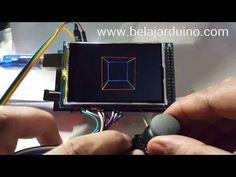 "3D Cube Rendering w/ LCD TFT 3,2"" Arduino Mega2560 + Joystick + ADXL345 Accel Sensor   Belajar Arduino"