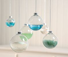 Love this idea for the Body/Bath section.  Clear glass ornaments filled with colored sand, crystals, or dried acrylic.