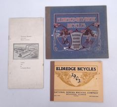Bicycle catalog lot including 1899 and 1903 Eldredge and 1897 Chas Sieg. Fair condition. Pedaling History Museum.(200)