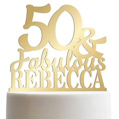 Custom Age Birthday Cake Topper 50th Personalized Funny