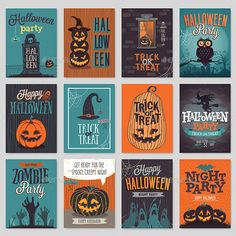 Halloween hand drawn invitation or greeting Cards set.. This is 100 vector collection.  You can edit and scale it to any size. Us Halloween Vector, Halloween Poster, Halloween Images, Halloween Cards, Halloween Illustration, Unicorn Halloween, Halloween Night, Cute Halloween, Holidays Halloween