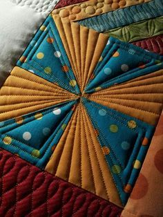 could quilt like this on special blocks adding batting but before joining w/ other blocks or backing