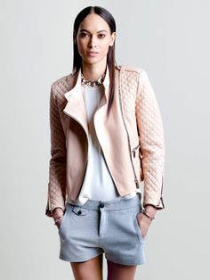 Barbara Bui Iconic Piece : Pale pink leather biker jacket