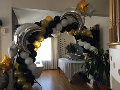 Moon and Stars baby shower arch Balloon Arch, Balloons, Star Baby Showers, Under The Stars, Balloon Decorations, Chandelier, Moon, Ceiling Lights, Home Decor