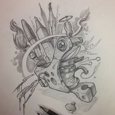 Bilderesultat for tattoo machine drawing Owl Tattoo Drawings, Art Drawings, Cartoon Sketches, Art Sketches, Ace Of Spades Tattoo, Desenho New School, Hai Tattoos, Japan Tattoo Design, Dibujos Tattoo