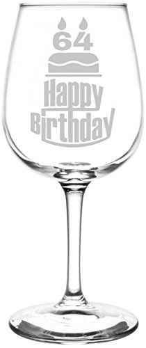 64th | Three Tier Happy Birthday Cake Decoration Inspired - Laser Engraved Libbey All-Purpose Wine Glass.  Fast Free Shipping & 100% Satisfaction Guaranteed.  The Perfect Gift!