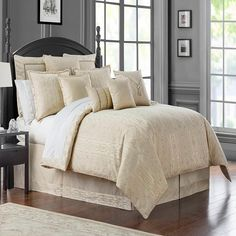 Waterford® Desmond Reversible Queen Comforter Set in Almond Cheap Bedding Sets, Cheap Bed Sheets, Bedding Sets Online, King Comforter Sets, Queen Comforter Sets, Waterford Bedding, Beds For Sale, Cool Beds, Luxury Bedding