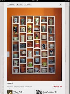 Coffee mug shelf I need this right now! So I can display all my hand painted mugs
