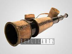 Antique Vintage Spyglass Telescope Leather Lens Cap Hand Tele Collectible Decor $55.99  www.replicartz.com