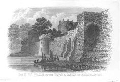 Town walls and Southampton Castle - 1850
