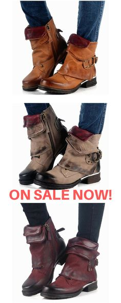 7c5d02e73 Genuine Leather Handmade Retro Buckled Open Zippered Flap Ankle Boots Brown  Red or Grey