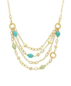 Another great find on #zulily! Mint & Turquoise Bead Chain Bib Necklace #zulilyfinds