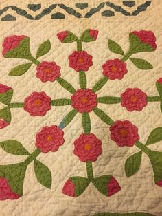 """Antique Handmade Carnations Quilt 62"""" By 74"""" Shabby & Soft, eBay, tms64"""