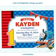 Thomas the train birthday party invitation digital printable thomas the train invitation any name age printable invitations design 002 filmwisefo