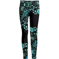 Azalea Black & Blue Floral Leggings (€11) ❤ liked on Polyvore featuring pants, leggings, blue pants, multi colored leggings, flower print pants, blue print leggings and patterned leggings
