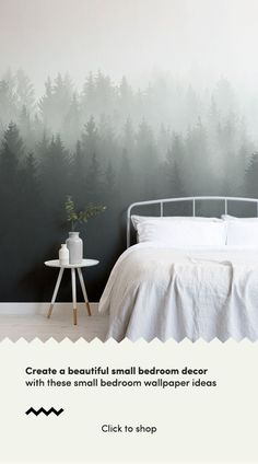 Deep Green Ombre Forest Wall Mural Style an small bedroom decor with these beautiful forest wallpapers and create a. Green Bedroom Walls, Accent Wall Bedroom, Small Room Bedroom, Master Bedroom, Wall Murals Bedroom, Bed Room, Master Suite, Bedroom Decor Pictures, Bedroom Ideas
