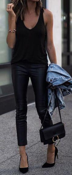 #summer #outfits Black Tank + Black Leather Skinny Pants + Black Pumps