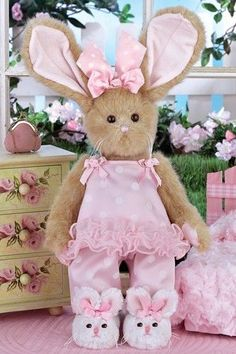 Bearington Bears Winnie Whiskertoes Plush Bunny Rabbit in Pink with Sippers Cutest Bunny Ever, Bunny Slippers, Easter Celebration, Bunny Plush, Bear Doll, Easter Crafts, Easter Bunny, Decoration, Crochet