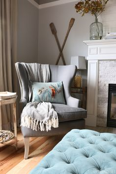 Gray Wingback Chair - Fall Pillow - The Inspired Room