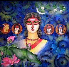 Durga Maa Paintings, Durga Painting, Indian Art Paintings, Modern Art Paintings, Indian Folk Art, Indian Artist, Canvas Painting Designs, Bengali Art, Indian Contemporary Art