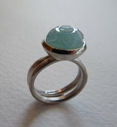 Branch on the Park, Carved Aquamarine Gemstone set in a Sterling Silver Ring