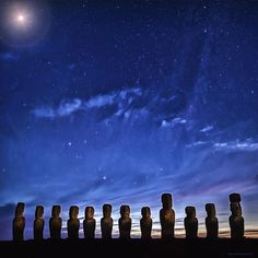 """Named """"Murmur of a Sigh"""", this is an image of Moai (statues) on the Ahu Tongariki on La Isla de Pascua (Easter Island or Rapa Nui) in the middle of the South Pacific Ocean taken about on hour before sunrise.  peace, D.""""Bodhi""""  #Pacific #Ocean #SouthPacific #Tropics #Island #Archeology #EasterIsland #Isla de Pascua #Chile #Moai #Ahu #Tongariki #Rapa #Nui #Nightscape #landscape #surreal #impressionist #expressionist #Dolica #Nikon #Nikkor #D800 #Lee Filters #LongExposure #LE #Stars #Sunrise"""