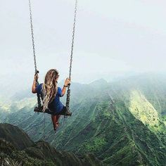Swing at the top of The Haiku Stairs in Oahu Hawaii  Would you do this? Photo by @caressame