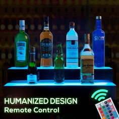 Home Bar Light Shelves Made in the USA 2 Long RGB LED Wireless Remote