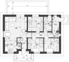 Projekt domu KP-100 88,71 m2 - koszt budowy 129 tys. zł - EXTRADOM Floor Plans, Floor Plan Drawing, House Floor Plans