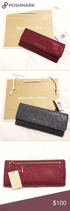 c63d8119f806 Michael Kors Glitter Slim Flat Cranberry Wallet Michael Kors wallet So  pretty and the glitter stays on the wallet! NWT authentic Bag included  Giftables ...