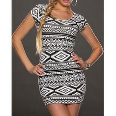 $11.13 Sexy Scoop Neck Geometric Short Sleeve Bodycon Dress For Women