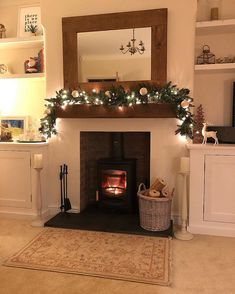 Ah that's better! 🥰 Those of you who guessed my slight OCD issue correctly the other night by spotting the stray fairy light on my Christmas garland, will be pleased to see the stray fairy light is no Log Burner Living Room, Log Burner Fireplace, Open Plan Kitchen Living Room, Simple Living Room, Living Room With Fireplace, Fireplace Ideas, Modern Living, Cottage Living Rooms, Living Room Shelves
