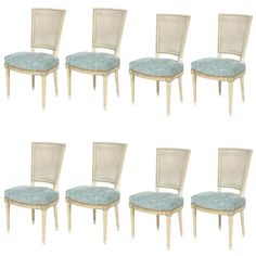 Set of Eight Louis XVI Style Caned Back Dining Chairs | From a unique collection of antique and modern dining room chairs at https://www.1stdibs.com/furniture/seating/dining-room-chairs/