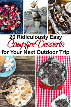 20 ridiculously easy campfire desserts for your next outdoor trip desserts for camping, camping ideas Camping Desserts, Camping Meals, Tent Camping, Camping Hacks, Camping Recipes, Backpacking Meals, Outdoor Camping, Family Camping, Camping Cooking