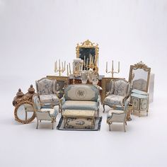 Collection of French Style Doll House Furniture: