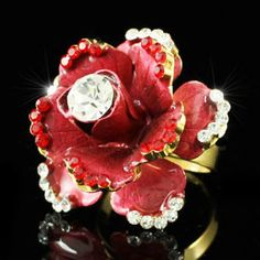 Gold 3D Red Rose Flower Austrian Crystal Ring