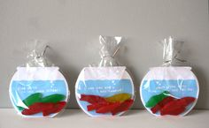 Great ideas for Valentines at school.  Can use gold fish crackers as well.  The cards say:  I'm so glad we're in the same school; I saw you and I was hooked; and You're the only fish in the sea for me!  Blog where discussed leads you to Etsy shop where templates can be obtained.