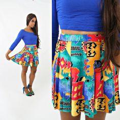 vintage 90s ethnic TRIBAL southwestern MINI pleated SCHOOL girl skirt by PasseNouveauVintage, $22.80