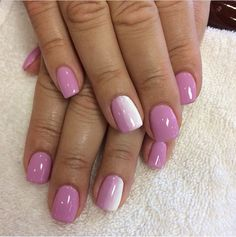 pink and white ombré dip powder nails for the bride to be