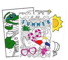 Download coloring pages in several categories for free. Also has DIY craft ideas.
