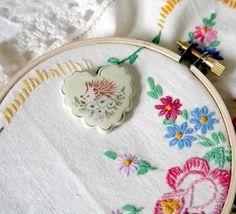 Ceramic Heart Needleminder with Painted by CynthiaCranesPottery
