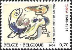 belgian stamps Danisch-Belgium Joint Issue  'no title'- Asger Jorn