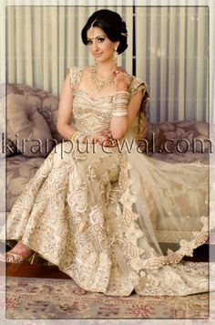 One of our Gorgeous Client Sareena in champagne lengha with trail created by Wellgroomed Designs Inc Follow us to check out full range www.facebook.com/wgroomed www.instagram.com/wellgroomedinc