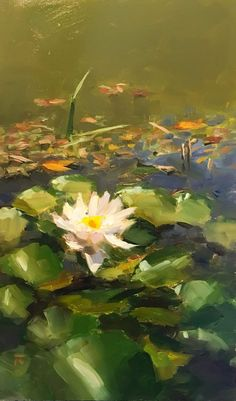 """Daily Paintworks - """"Midst her Mess"""" - Original Fine Art for Sale - © Thomas Ruckstuhl Abstract Landscape, Landscape Paintings, Painting Inspiration, Art Inspo, Lily Painting, Fine Art Gallery, Water Lilies, Oeuvre D'art, Les Oeuvres"""