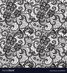 Lace Black Seamless Pattern With Flowers On White Background Download A Free Preview Or High